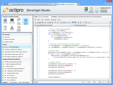 Actipro SyntaxEditor for Silverlight 2017.1 build 211