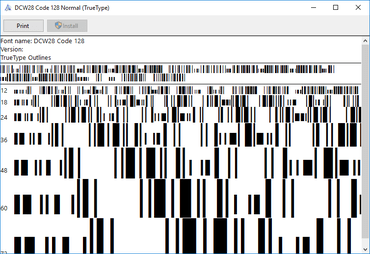 dFont Barcode Fonts for Windows - Code 128/EAN 128 V7.1