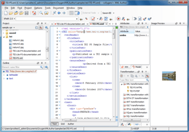 oXygen XML Author adds referred content editing
