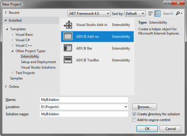 Develop IE Add-ons in Visual Studio 2012