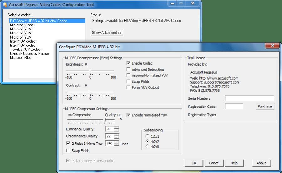Screenshot of PICVideo M-JPEG Codec