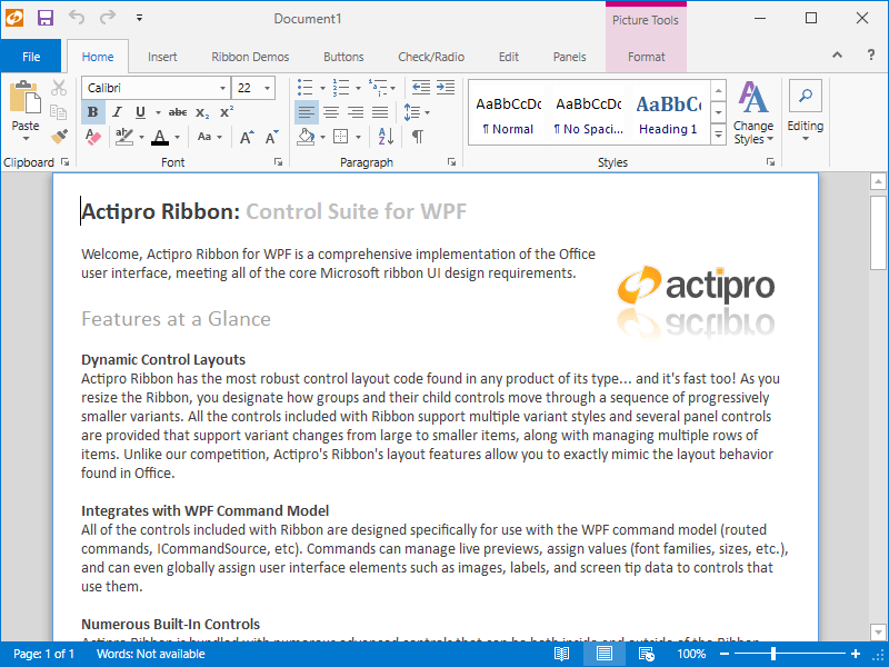 Screenshot of Actipro Ribbon for WPF