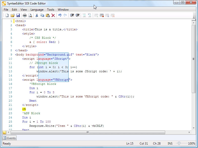 Captura de tela do Actipro SyntaxEditor for WPF