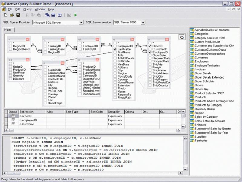 Screenshot of Active Query Builder for ActiveX