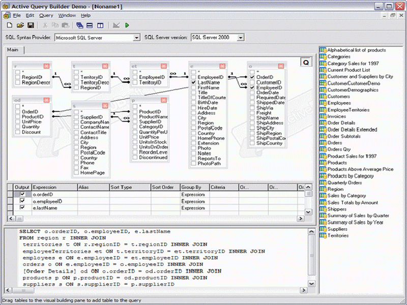 Screenshot of Active Query Builder for ActiveX