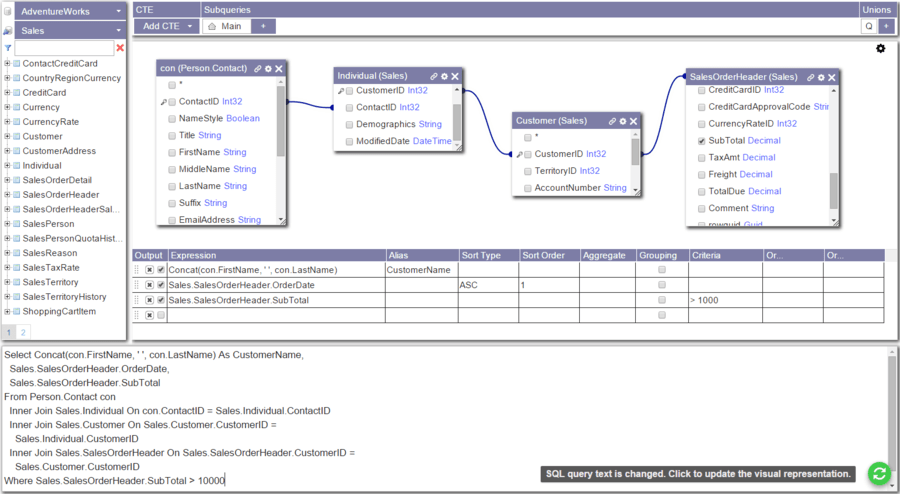 Screenshot of Active Query Builder for .NET