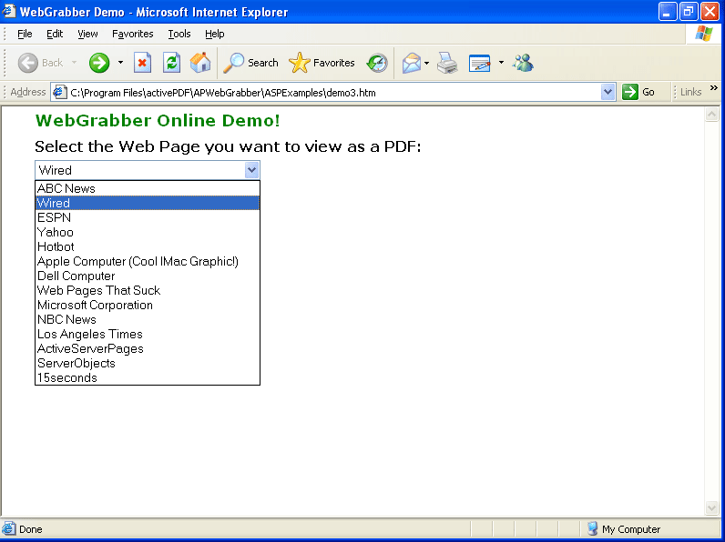 Screenshot of ActivePDF WebGrabber Enterprise
