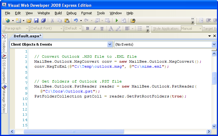 Captura de pantalla de MailBee.NET Outlook Converter