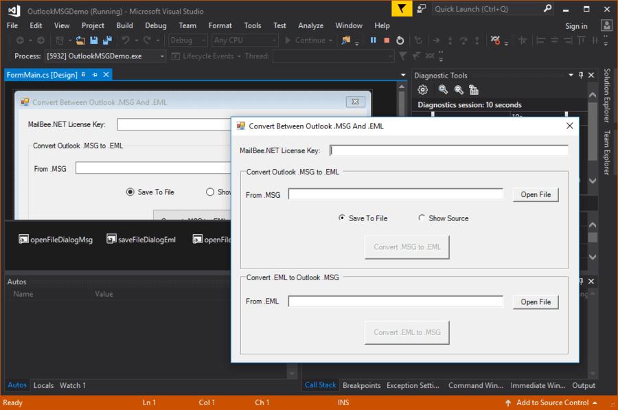 Captura de pantalla de MailBee.NET Outlook Converter