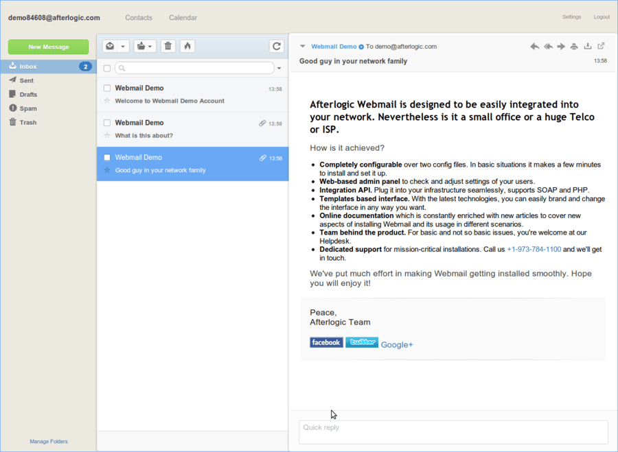 Screenshot of WebMail Pro for PHP