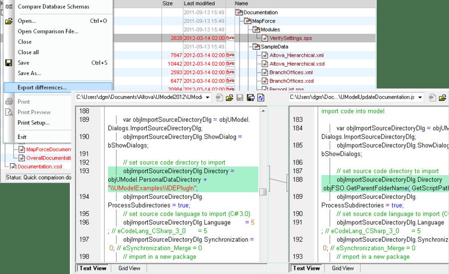 Captura de pantalla de Altova DiffDog Enterprise Edition