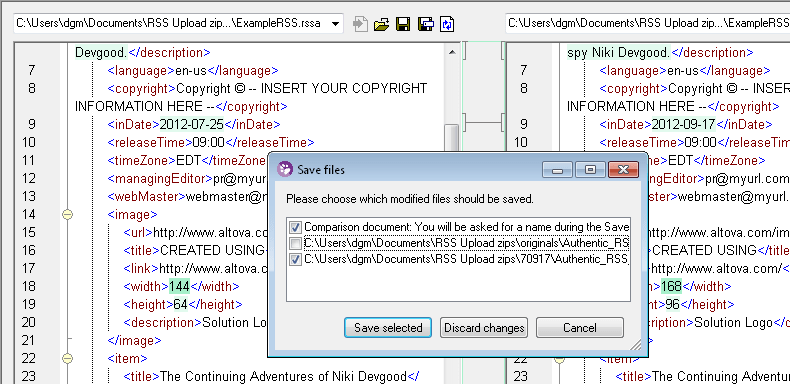 Screenshot of Altova DiffDog Professional Edition