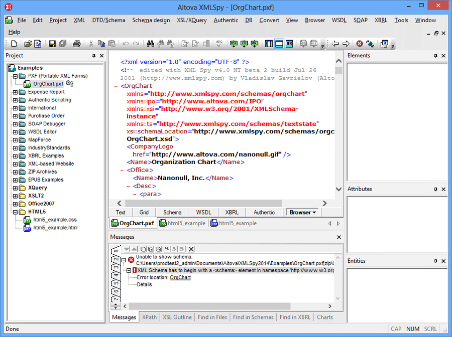 Screenshot of Altova MissionKit Enterprise Edition