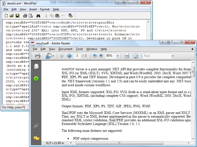 Screenshot of XML2PDF Formatting Engine