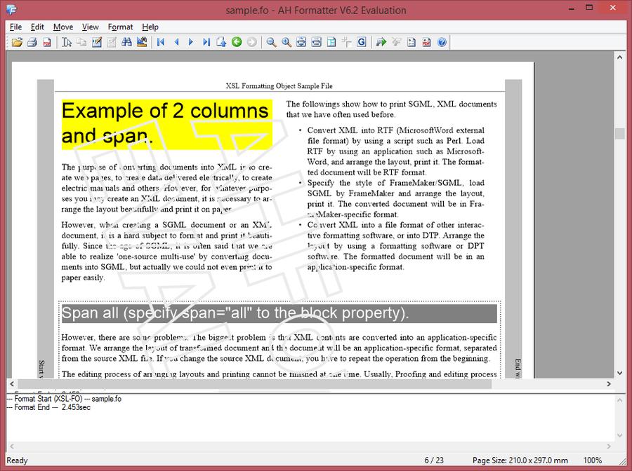 Screenshot of AH XSL Formatter Lite