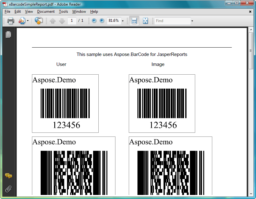 Screenshot of Aspose.BarCode for JasperReports
