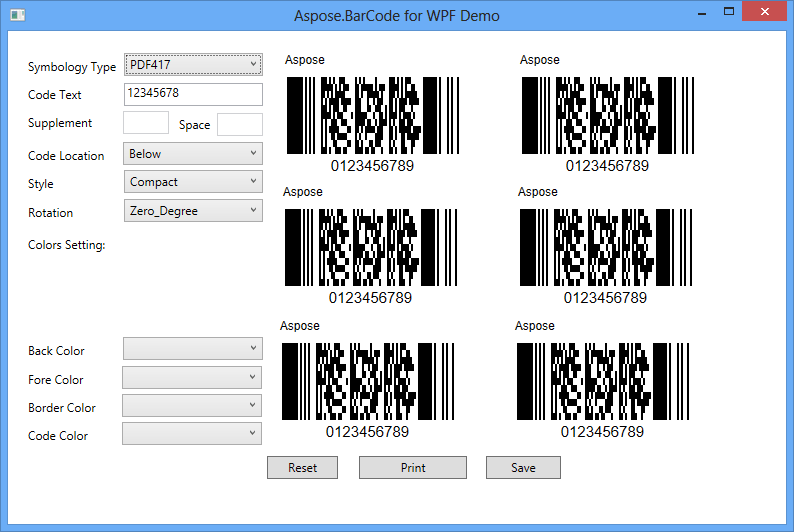Aspose.BarCode for .NET 스크린샷