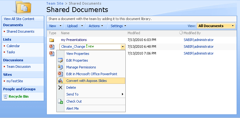 Screenshot of Aspose.Slides for SharePoint