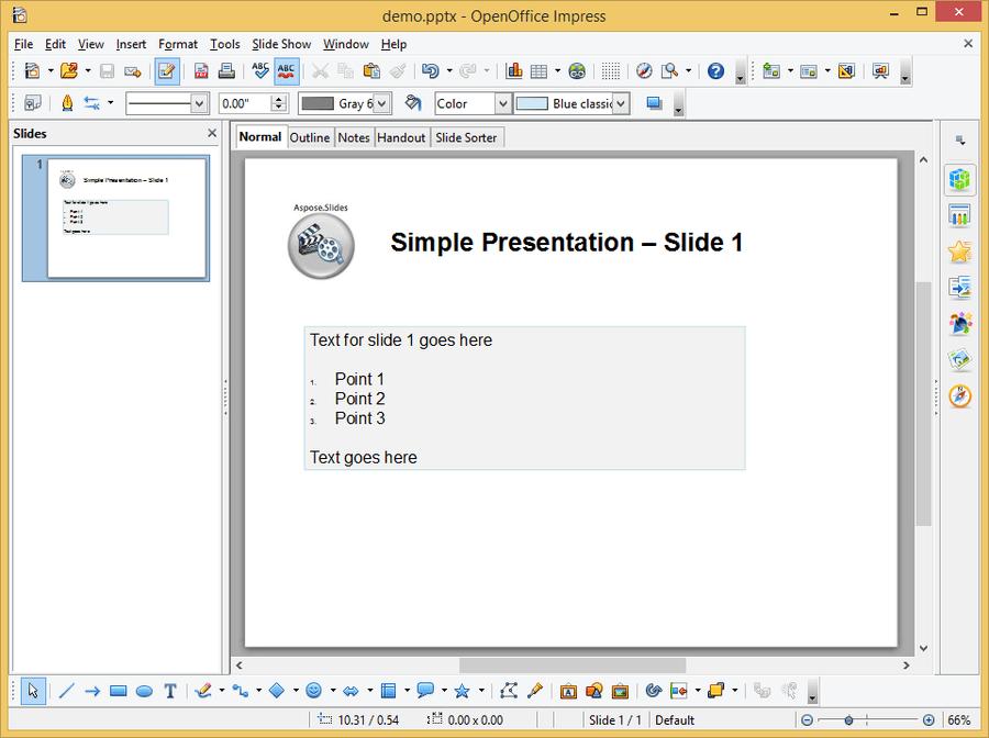 Screenshot of Aspose.Slides for Java