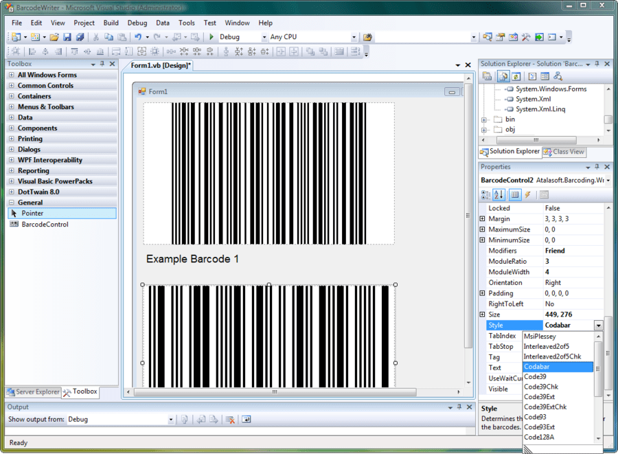 Atalasoft DotImage Barcode Writer Add-On 스크린샷
