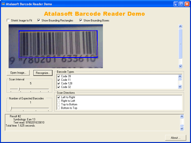 AtalaSoft DotImage BarcodeReader Add-On 스크린샷