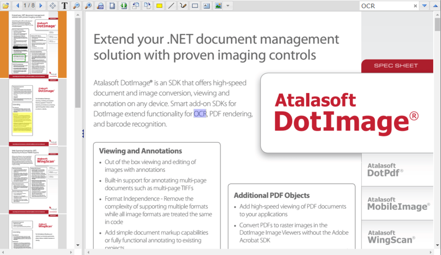 Atalasoft DotImage Document Imaging 스크린샷