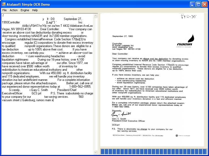 Screenshot of Atalasoft DotImage OCR Module Add-On