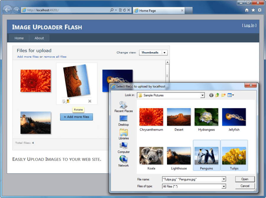Screenshot of Image Uploader Flash