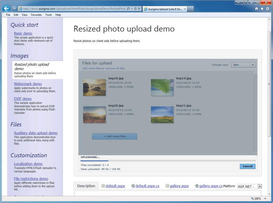 Screenshot of Aurigma Upload Suite