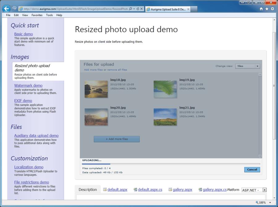 Screenshot of Aurigma Upload Suite