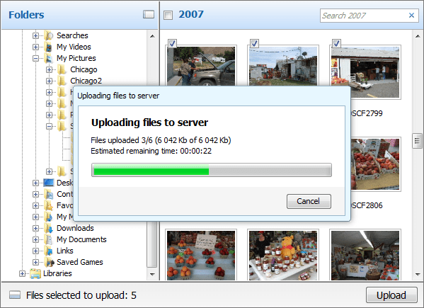 Screenshot of Aurigma Image Uploader Express