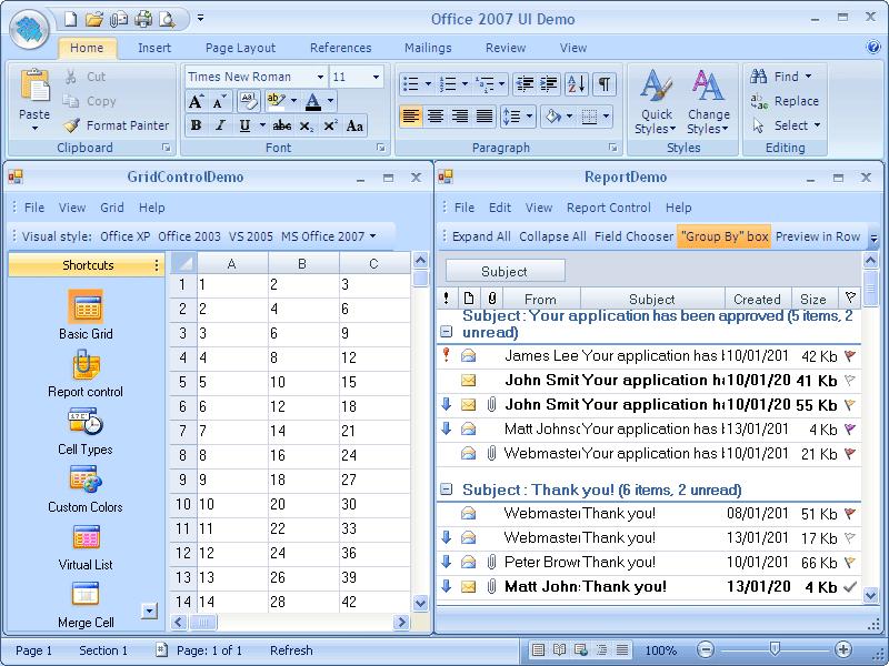 Screenshot of BCGControlBar Library for .NET