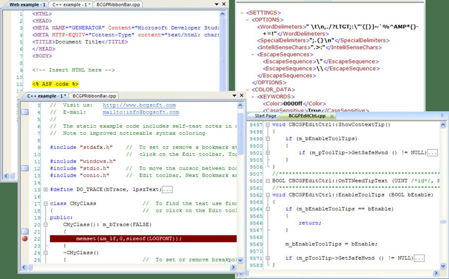 Screenshot of BCGPEdit (BCGSoft Professional Editor)