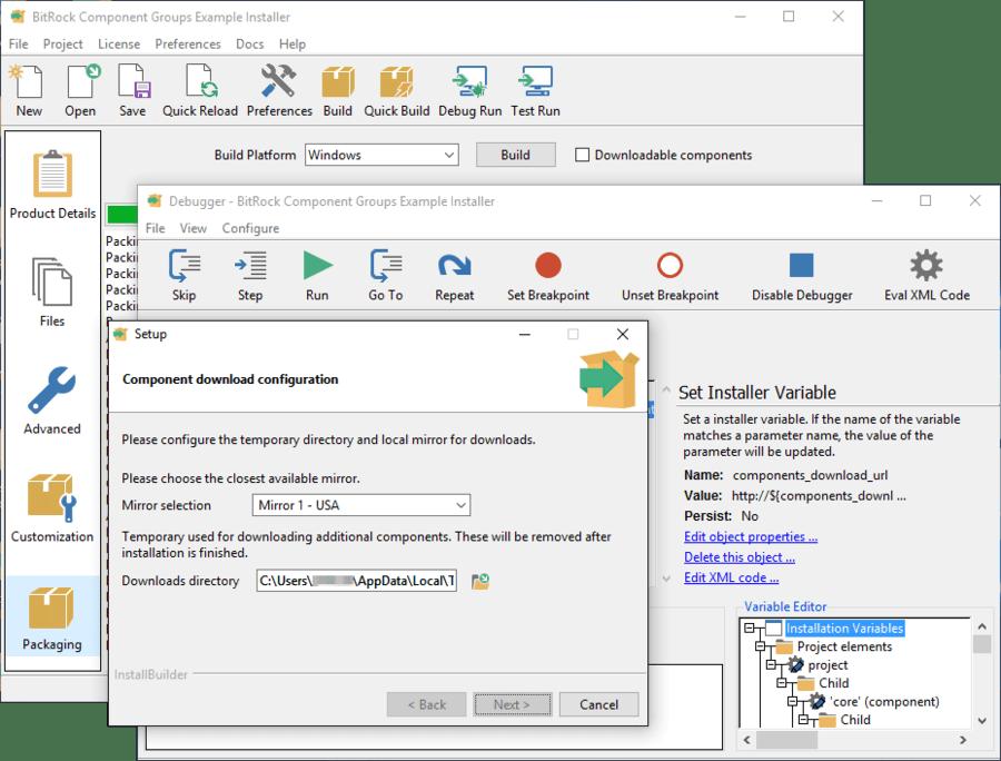 Schermata di InstallBuilder Enterprise