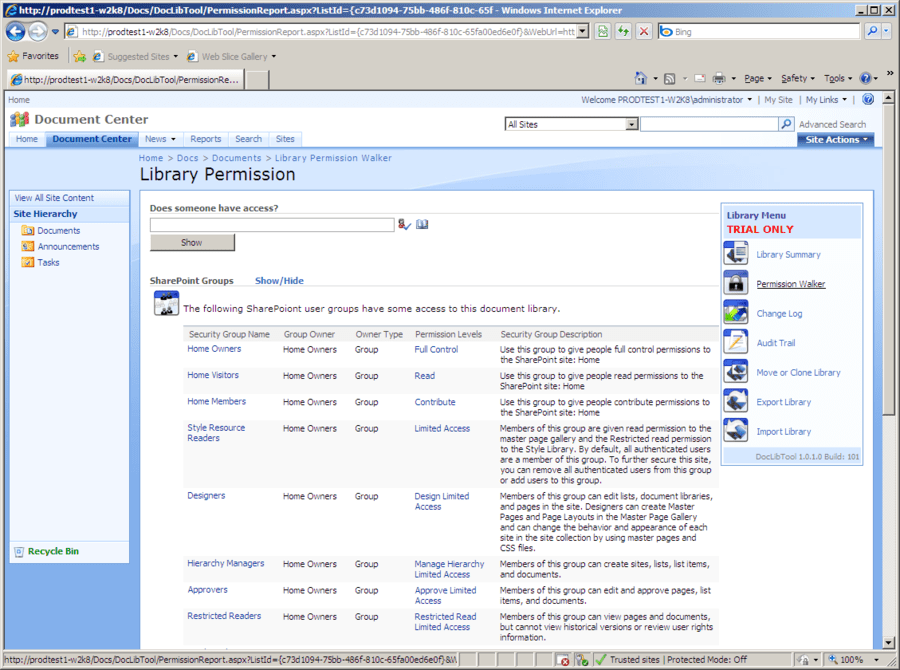Screenshot of BlackCompass DocLibTool