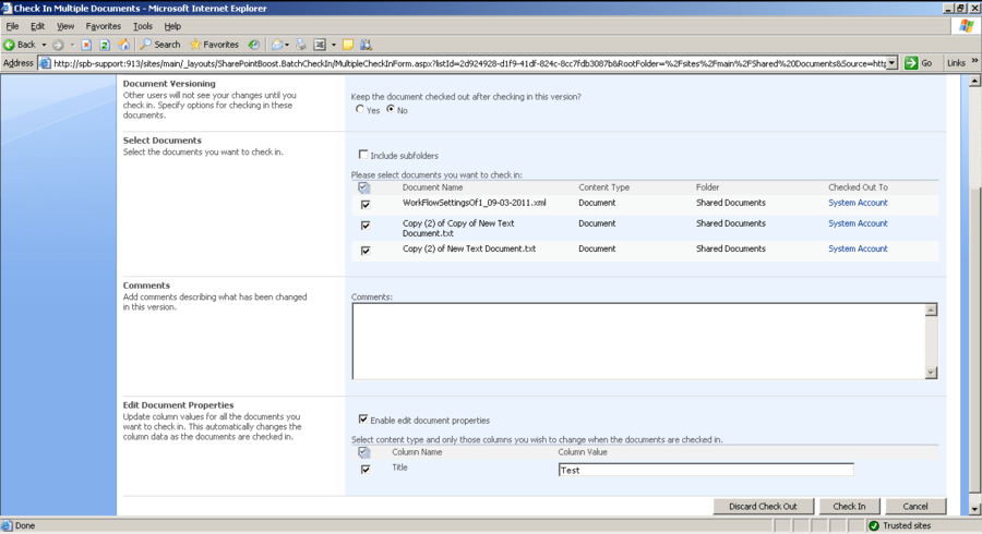 Screenshot of SharePoint Batch Check In
