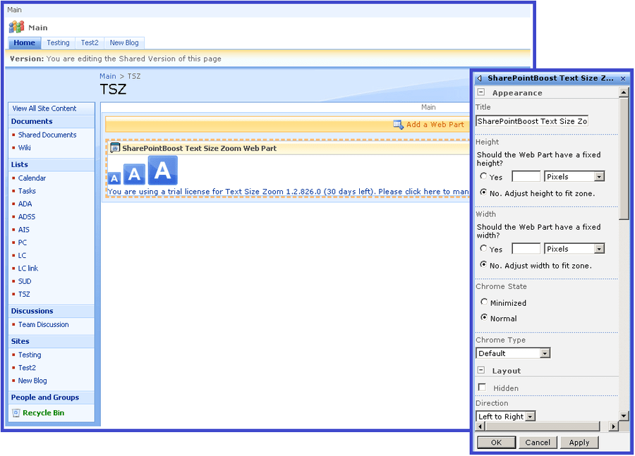 Screenshot of SharePoint Text Size Zoom