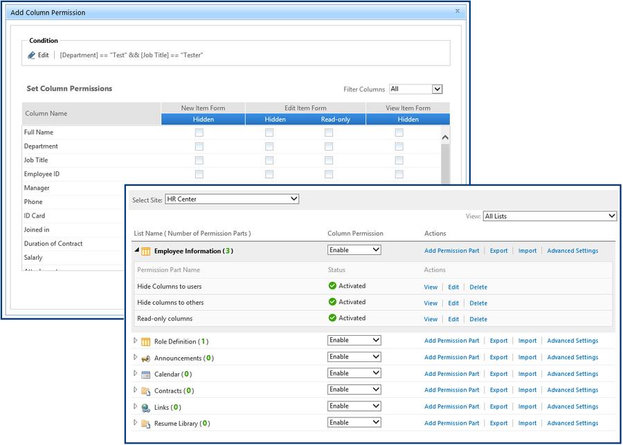 Screenshot of SharePoint Column/View Permission
