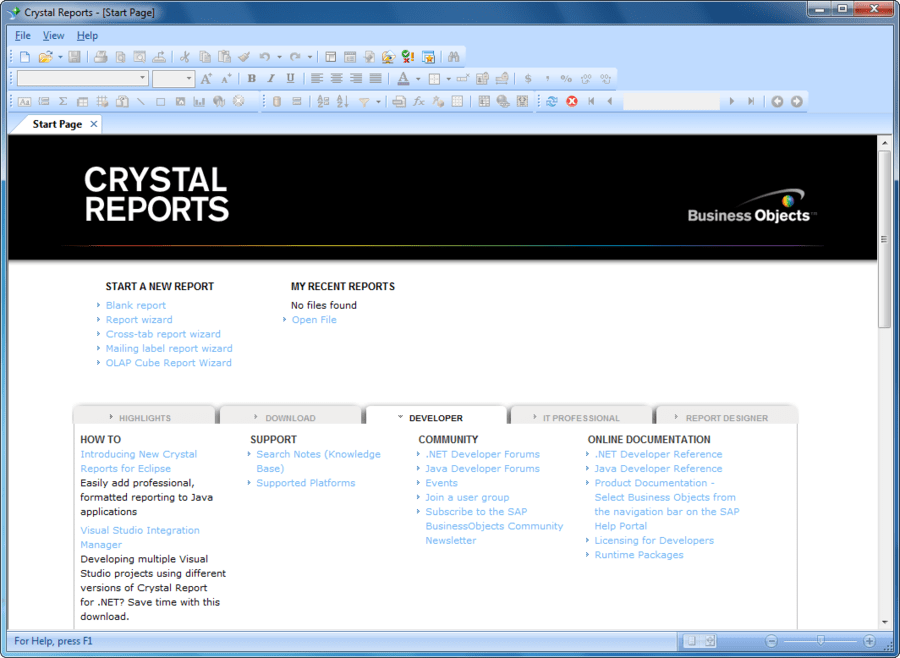 Captura de tela do SAP Crystal Reports