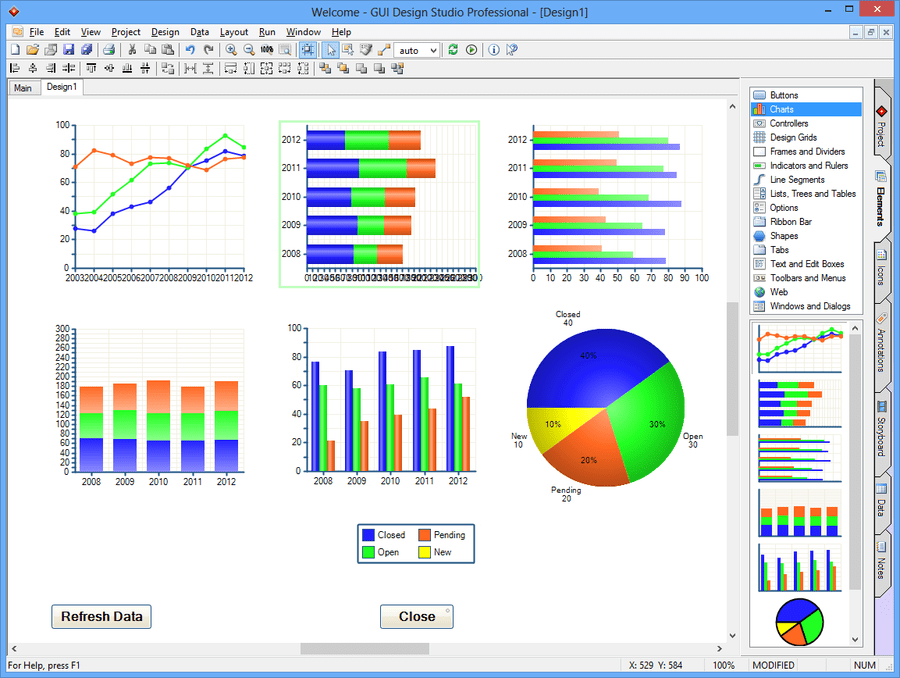 Screenshot of GUI Design Studio