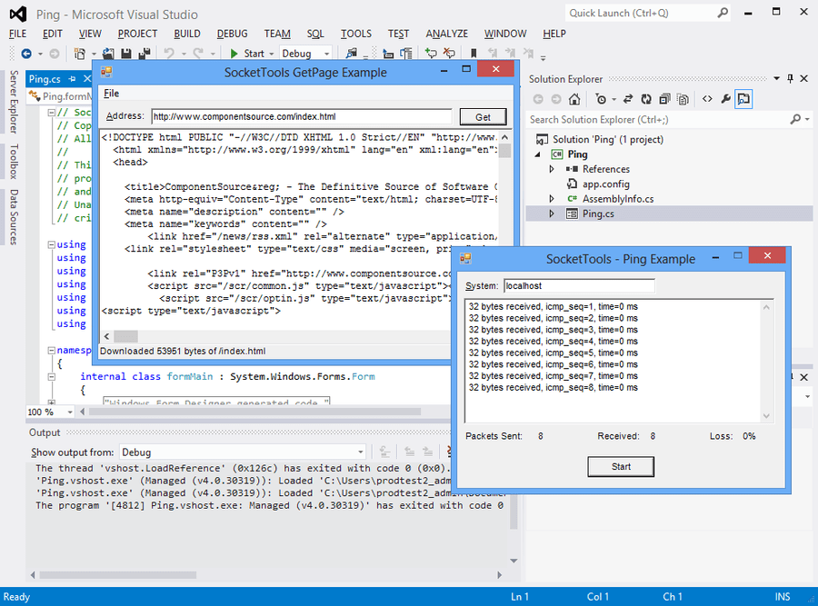 Screenshot of SocketTools .NET Edition