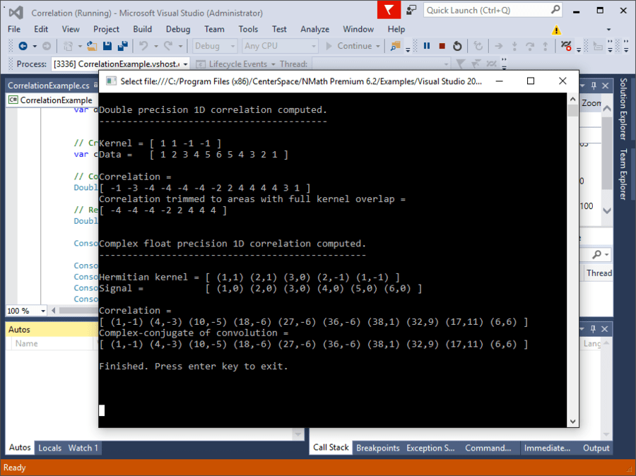 Screenshot of NMath