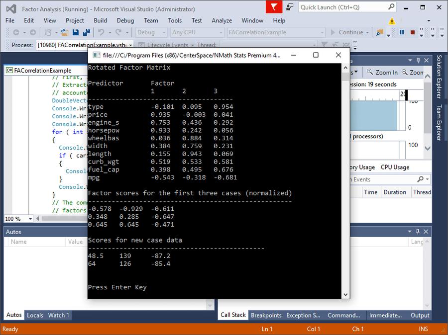 Screenshot of NMath Stats