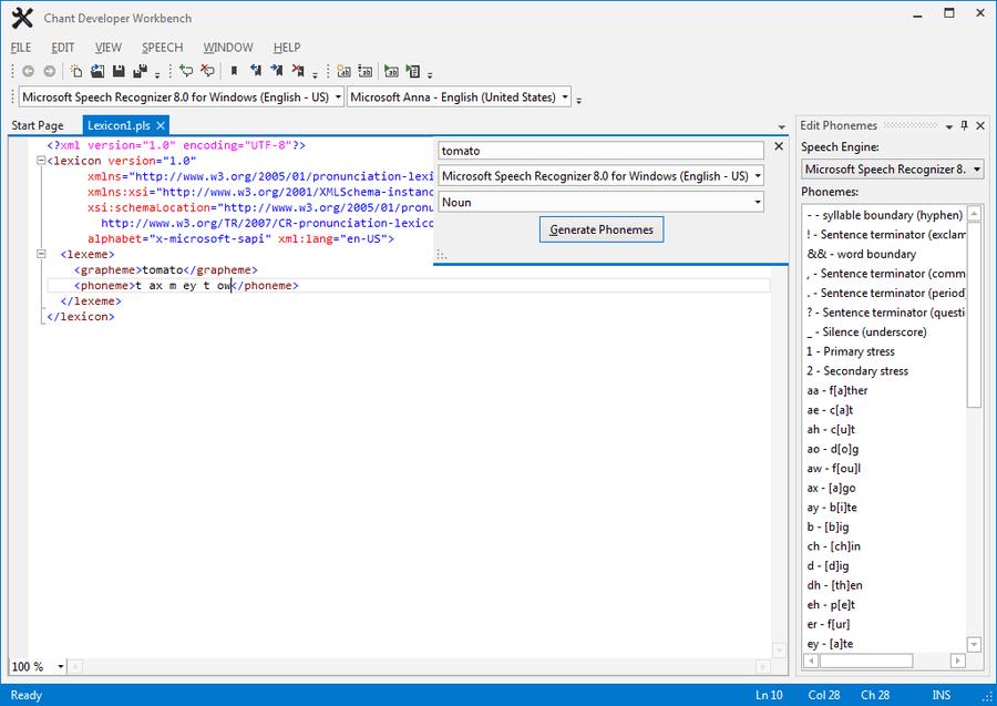 Screenshot von Chant LexiconKit