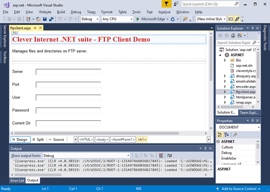 Screenshot of Clever Internet .NET Suite