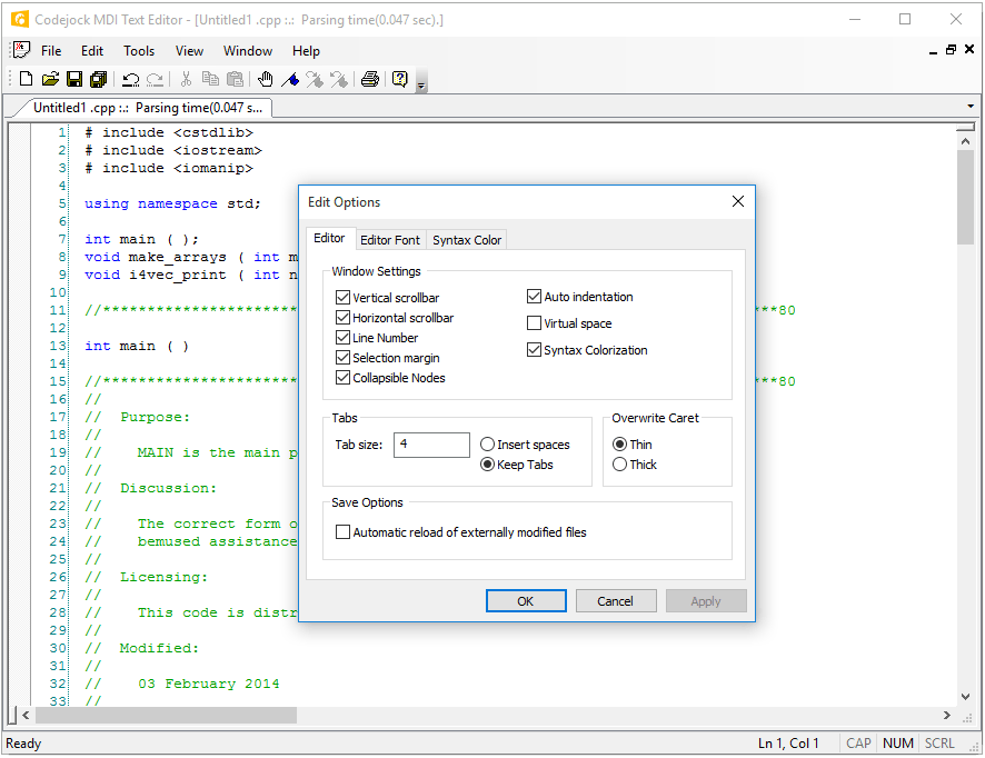 Screenshot of Codejock Syntax Edit ActiveX