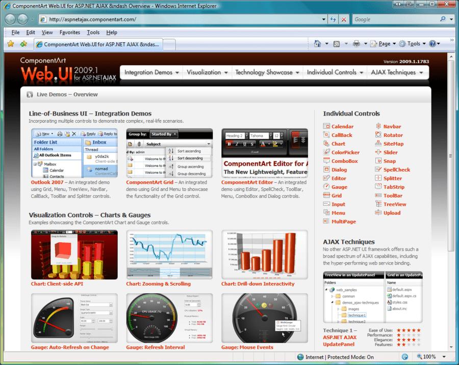 Capture d'écran de ComponentArt Web.UI for ASP.NET AJAX
