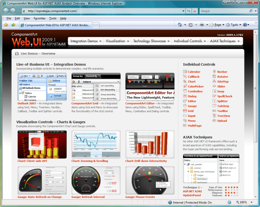 Screenshot of ComponentArt Web.UI for ASP.NET AJAX