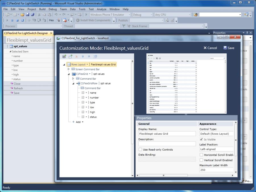 Screenshot of ComponentOne FlexGrid for LightSwitch
