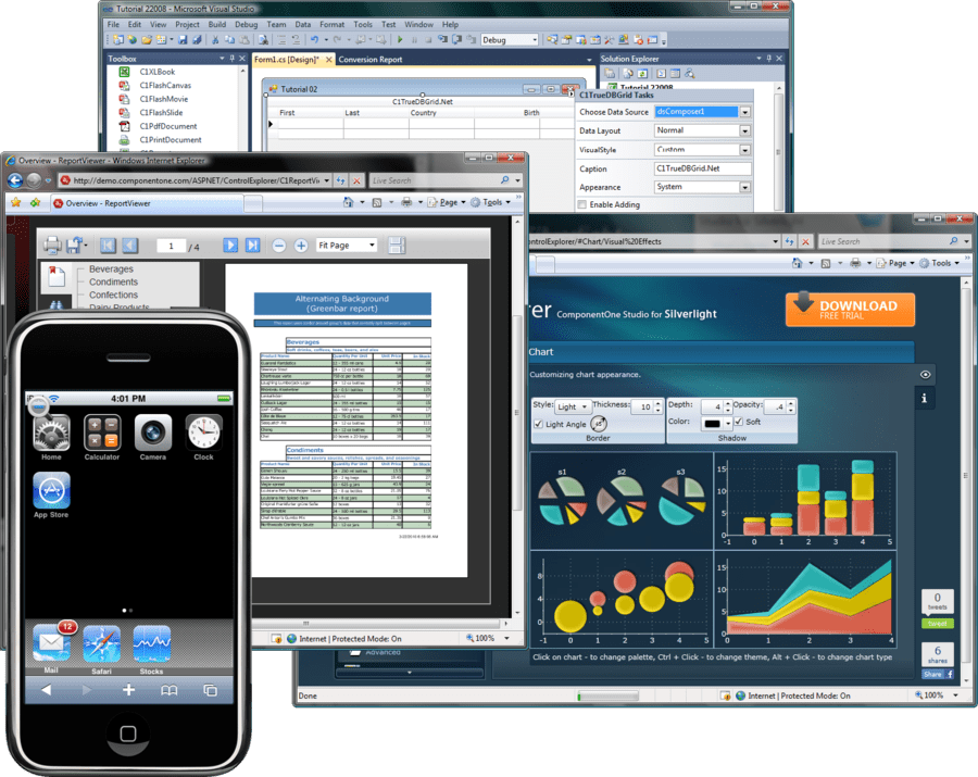 Schermata di ComponentOne Studio Enterprise Doc Edition